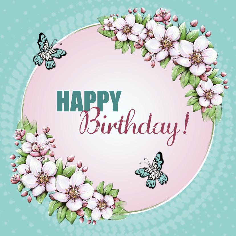 Verjaardagskaarten - Verjaardag bloesem vlinders - IH