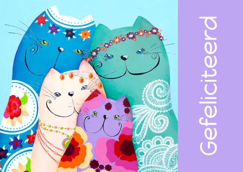 Verjaardagskaarten - Verjaardag bohemian katten 1