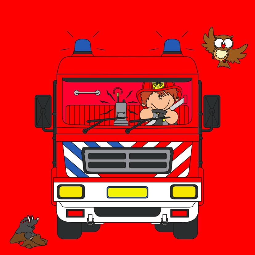 Verjaardagskaarten - Verjaardag brandweerauto