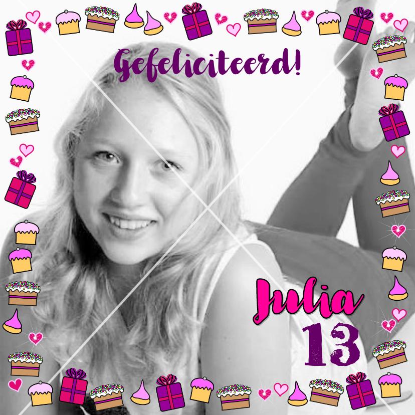 Verjaardagskaarten - Verjaardag  cadeautjes cupcake