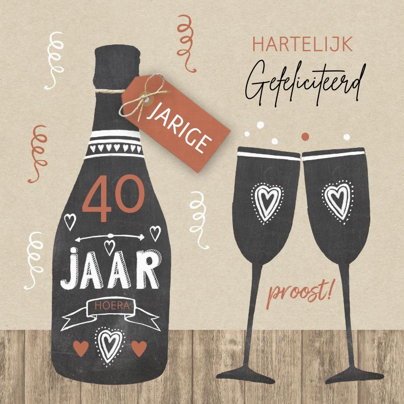 Verjaardagskaarten - Verjaardag champagne krijtbord