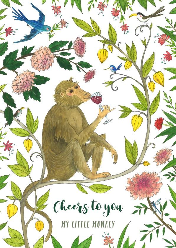 Verjaardagskaarten - Verjaardag Cheers to you my little monkey