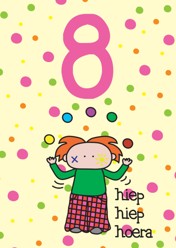 Verjaardagskaarten - Verjaardag Clown 8 jaar