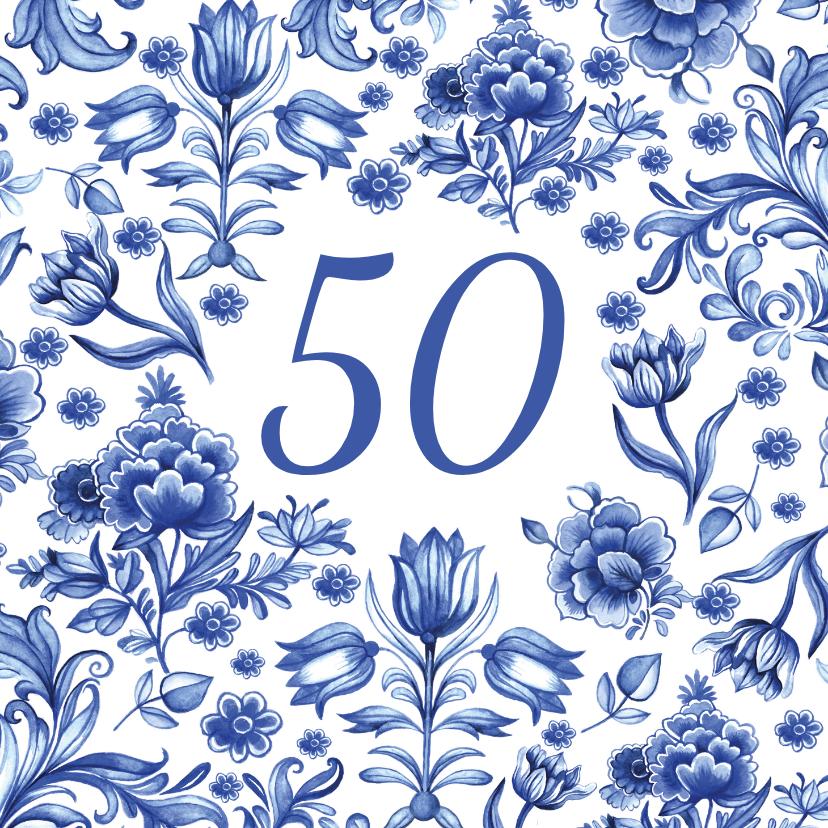 Verjaardagskaarten - Verjaardag delfts blauw patroon