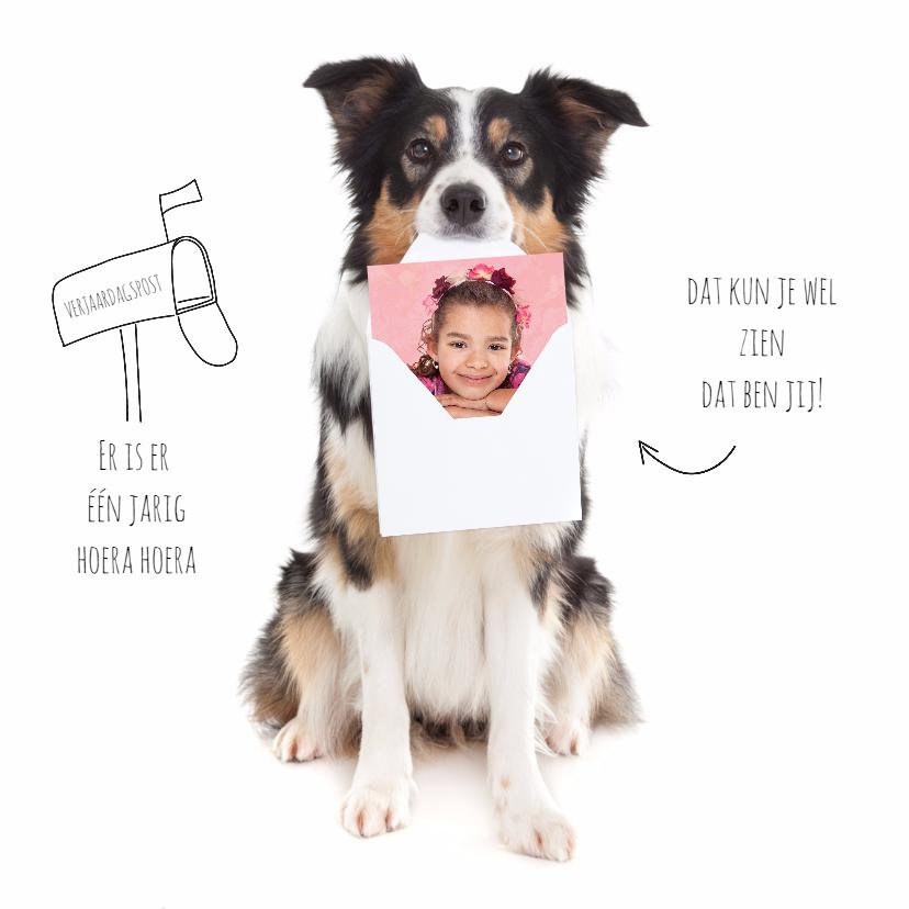 Verjaardagskaarten - Verjaardag - Er is er één jarig hoera - Hond met foto