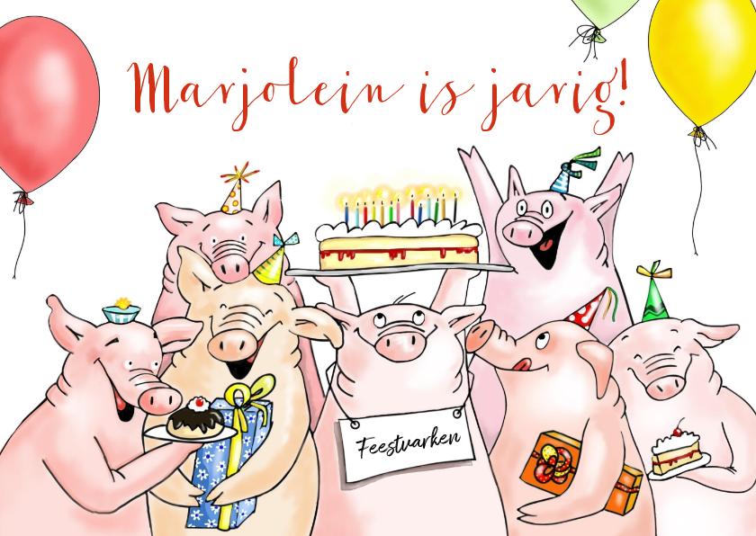 Verjaardagskaarten - Verjaardag - feestvarkens met taart en kadootjes