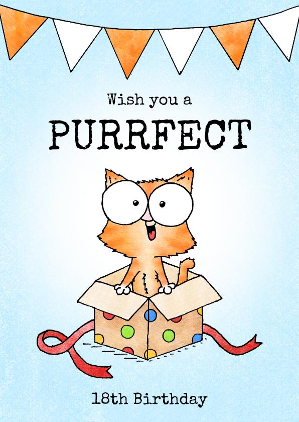 Verjaardagskaarten - Verjaardag felicitatie kitten - Wish you a purrfect birthday