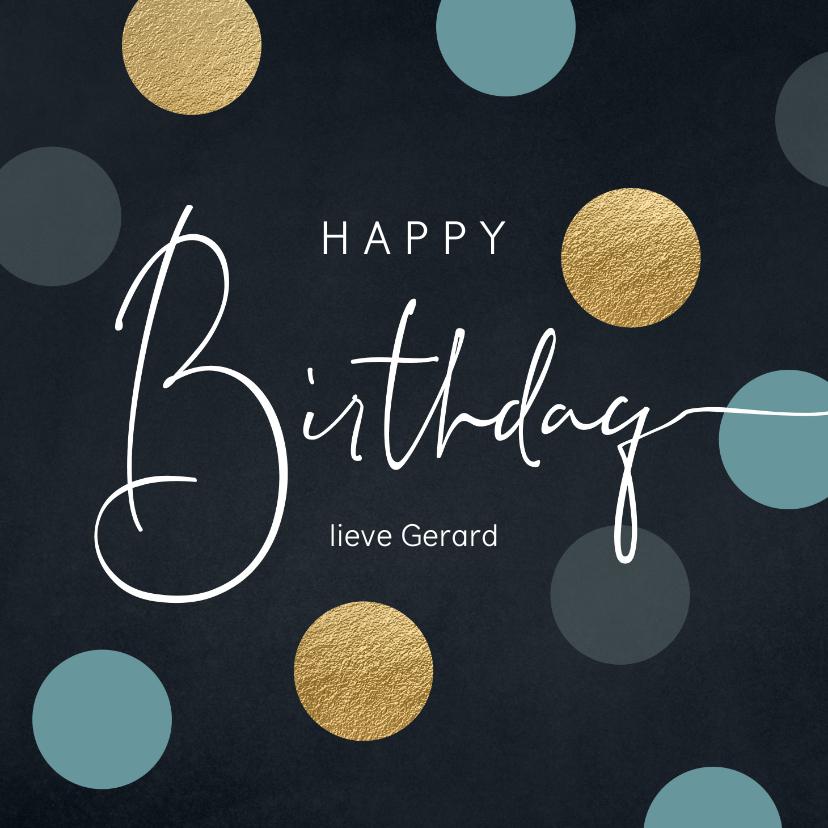 Verjaardagskaarten - Verjaardag felicitatie wenskaart dots man
