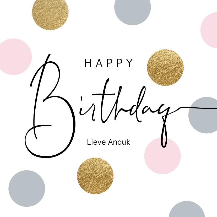 Verjaardagskaarten - Verjaardag felicitatie wenskaart dots