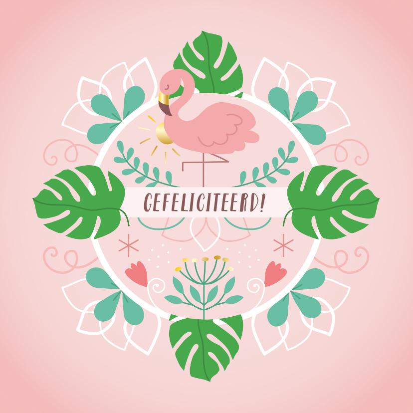 Verjaardagskaarten - Verjaardag flamingo monstera bladeren
