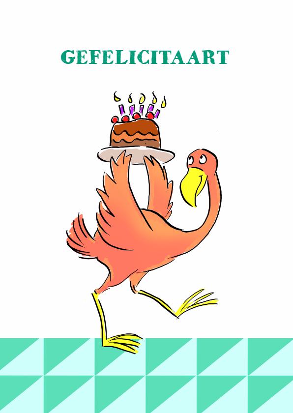 Verjaardagskaarten - Verjaardag Flamingo Taart v2