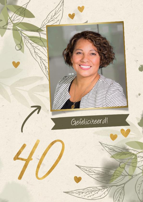 Verjaardagskaarten - Verjaardag foto met takjes, gouden hartjes en waterverf
