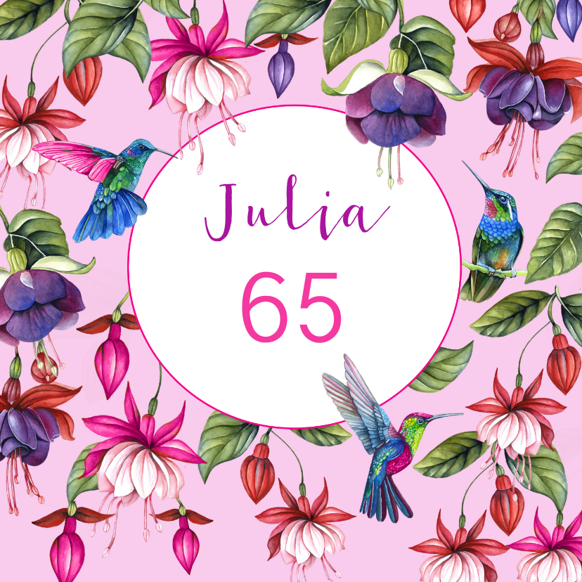 Verjaardagskaarten - Verjaardag fuchsiabloemen kolibrie