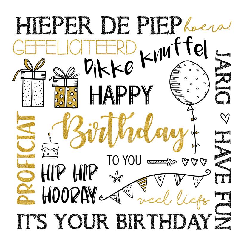 Verjaardagskaarten - Verjaardag handlettering met goudlook