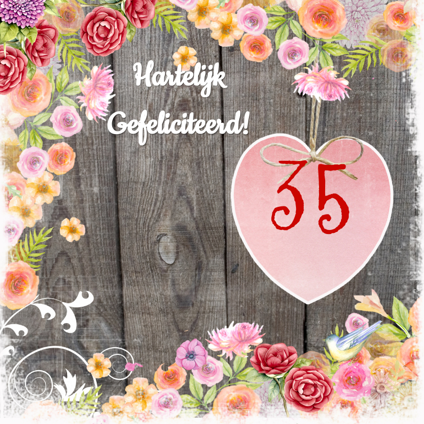 Verjaardagskaarten - verjaardag hart bloemen