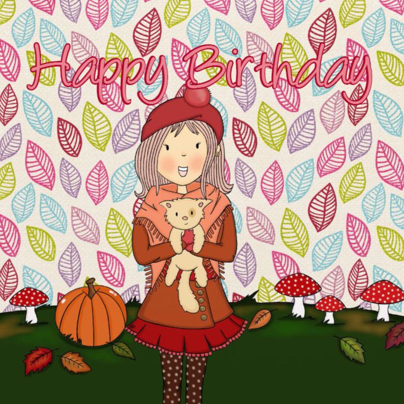 Verjaardagskaarten - Verjaardag Herfst Meisje - TbJ