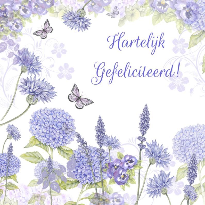 Verjaardagskaarten - verjaardag hortensia bloemen
