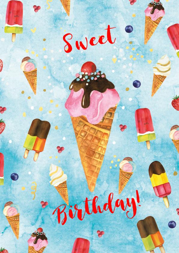 Verjaardagskaarten - Verjaardag ijsjes