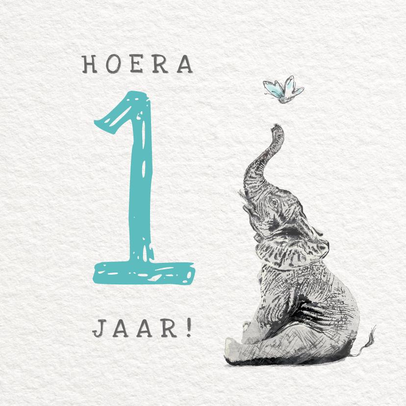 Verjaardagskaarten - Verjaardag Illustratie met Olifant - Hoera 1 jaar Jongen