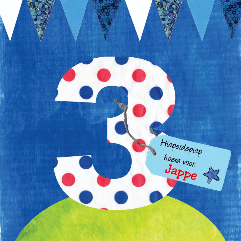 Verjaardagskaarten - verjaardag jongen 3 jaar tekst label