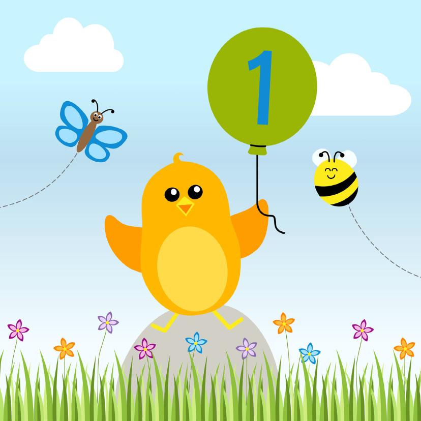 Verjaardagskaarten - Verjaardag jongen oranje vogeltje met ballon - DD