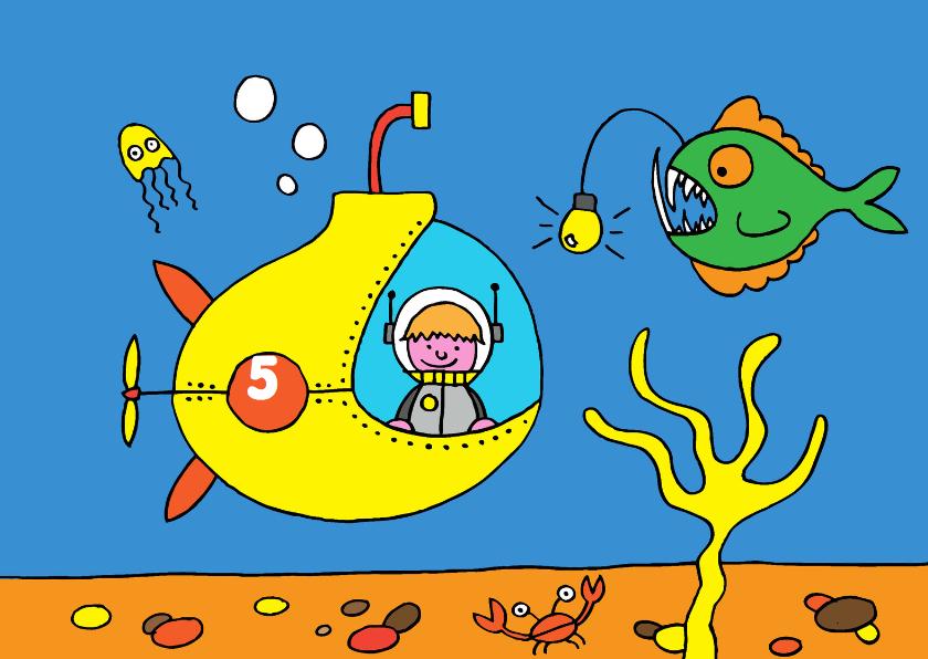 Verjaardagskaarten - verjaardag jongen stoer duikboot
