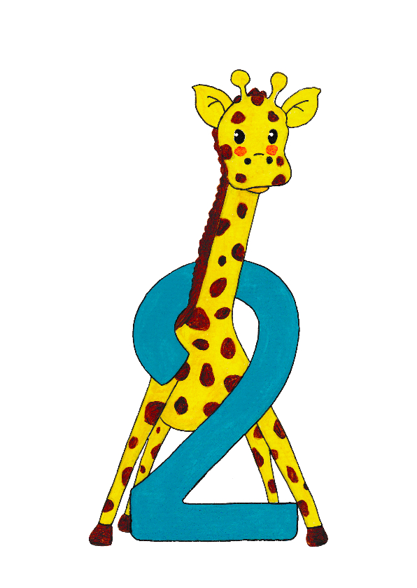 Verjaardagskaarten - Verjaardag kind 2 jaar giraf - HR