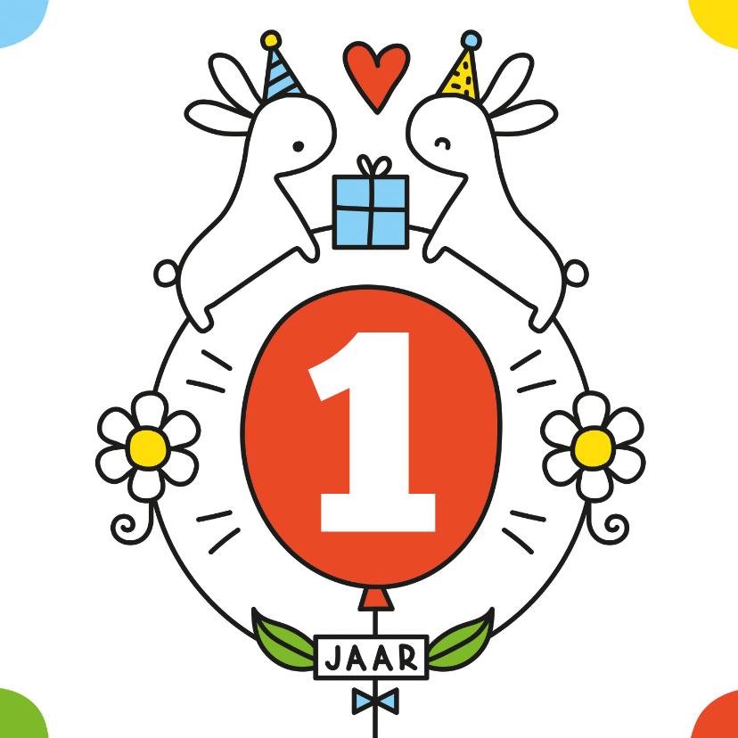 Verjaardagskaarten - Verjaardag konijntjes en ballon
