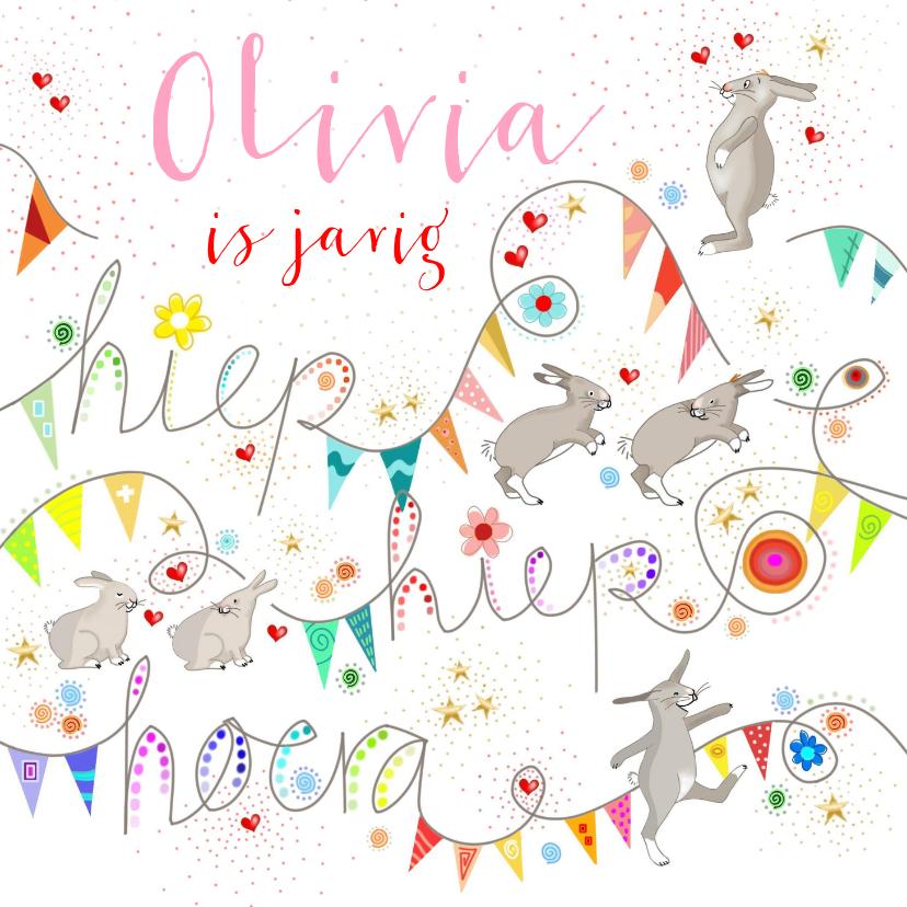 Verjaardagskaarten - Verjaardag - konijntjes met tierelantijntjes