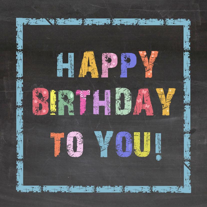 Verjaardagskaarten - Verjaardag krijtbord kleur - AV