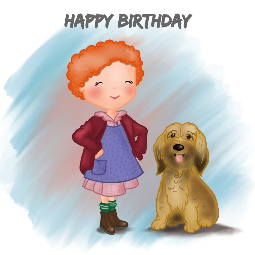 Verjaardagskaarten - Verjaardag Krullebol met hond