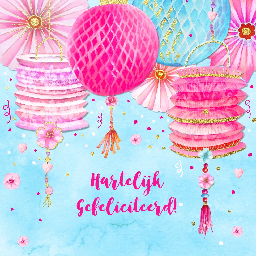 Verjaardagskaarten - Verjaardag lampionnen
