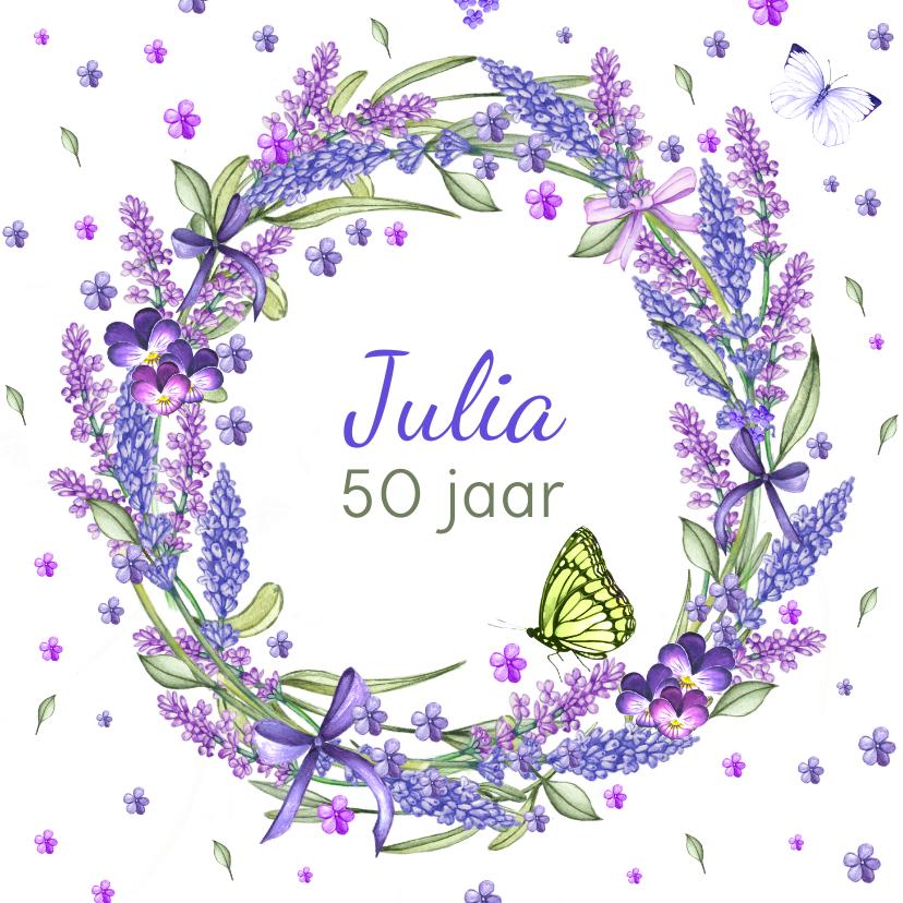 Verjaardagskaarten - Verjaardag lavendelkrans zomer