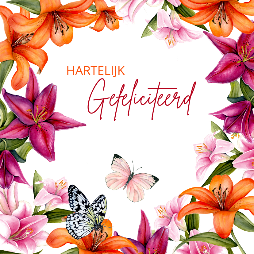 Verjaardagskaarten - Verjaardag lelies vlinder