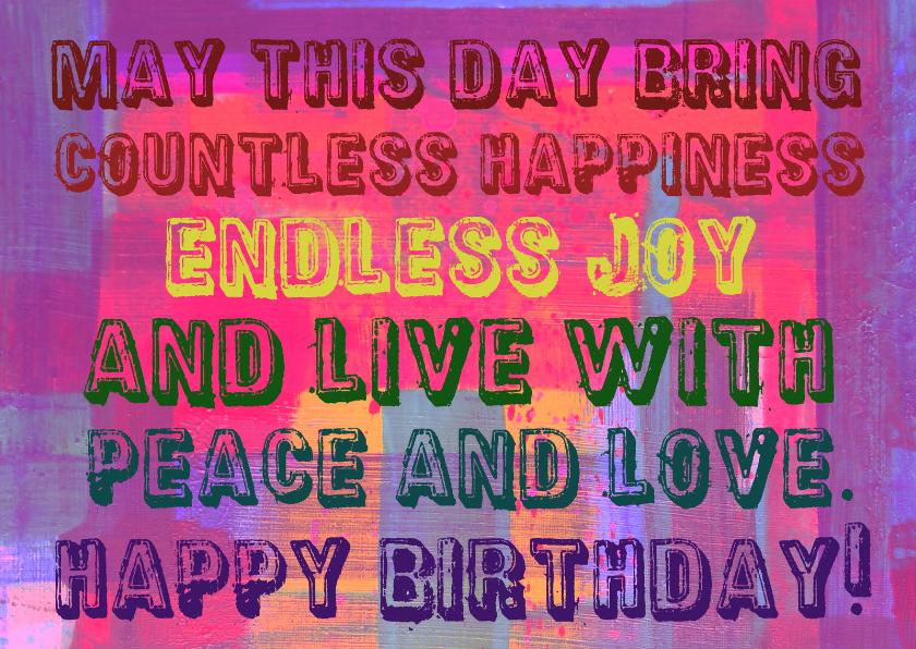Verjaardagskaarten - Verjaardag live with peace IW