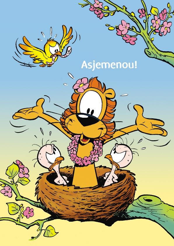 Verjaardagskaarten - Verjaardag Loeki lente in nest A
