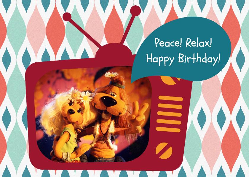 Verjaardagskaarten - Verjaardag Loeki tv hippies -A
