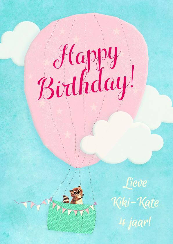 Verjaardagskaarten - Verjaardag Luchtballon zoet