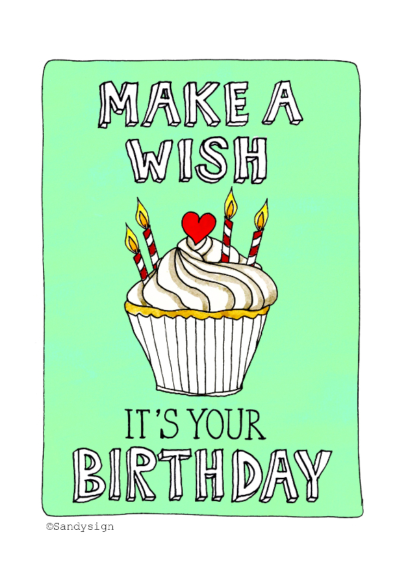 Verjaardagskaarten - Verjaardag make a wish - SD
