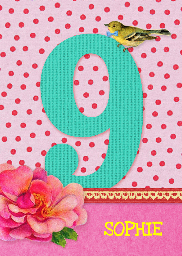 Verjaardagskaarten - Verjaardag Meisje 9 roze