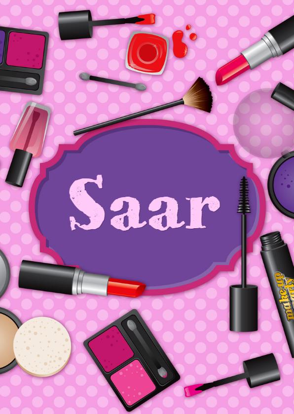 Verjaardagskaarten - verjaardag meisje tiener makeup