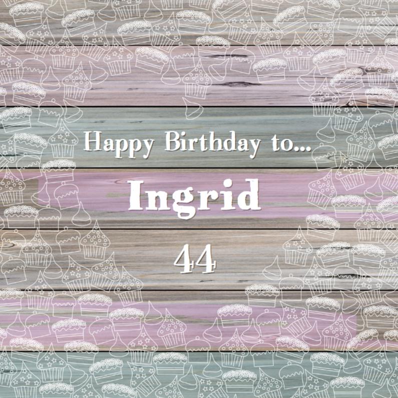 Verjaardagskaarten - Verjaardag met taart en cupcakes