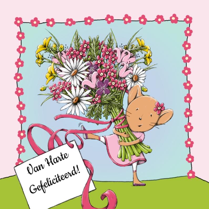 Verjaardagskaarten - Verjaardag muis en bloemen - IH
