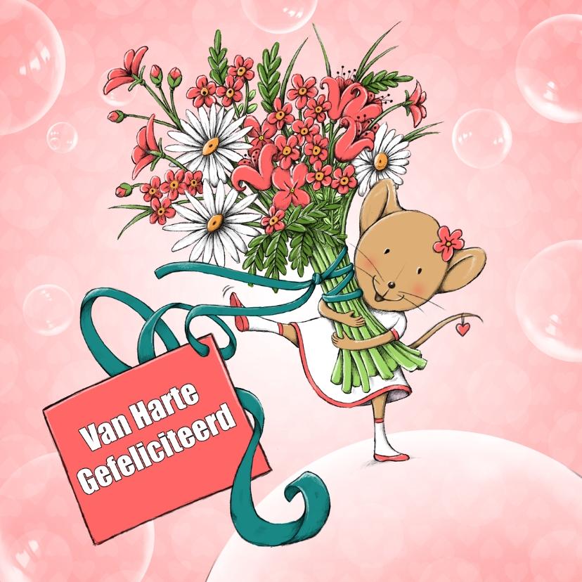 Verjaardagskaarten - Verjaardag muis met bloemen-IH