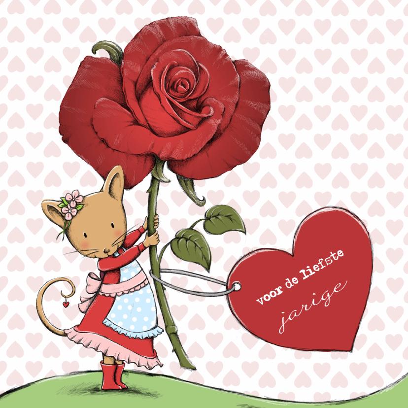 Verjaardagskaarten - Verjaardag muis, roos, hart - IH