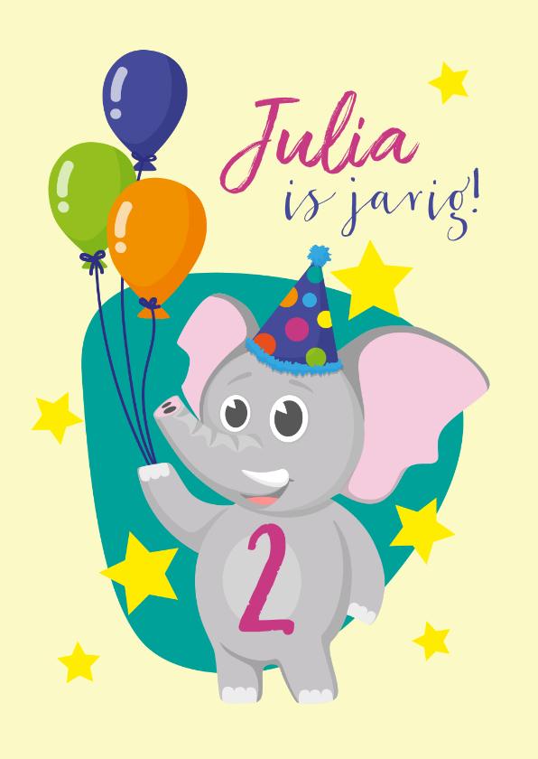 Verjaardagskaarten - Verjaardag olifantje en ballonnen