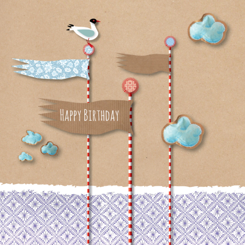 Verjaardagskaarten - Verjaardag - Paper Cut Flags -MW