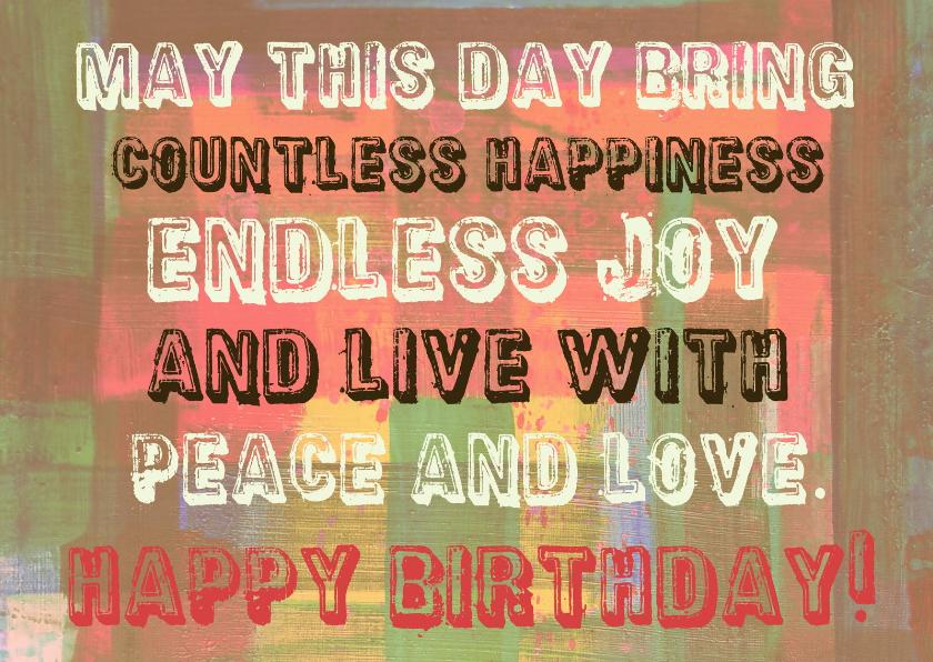 Verjaardagskaarten - Verjaardag peace and love IW