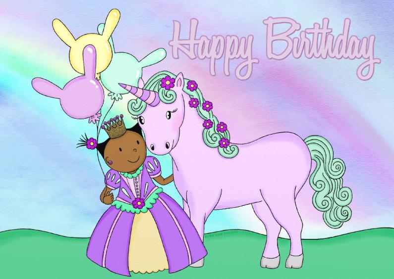 Verjaardagskaarten - Verjaardag PrinsesUnicorn2 - TbJ
