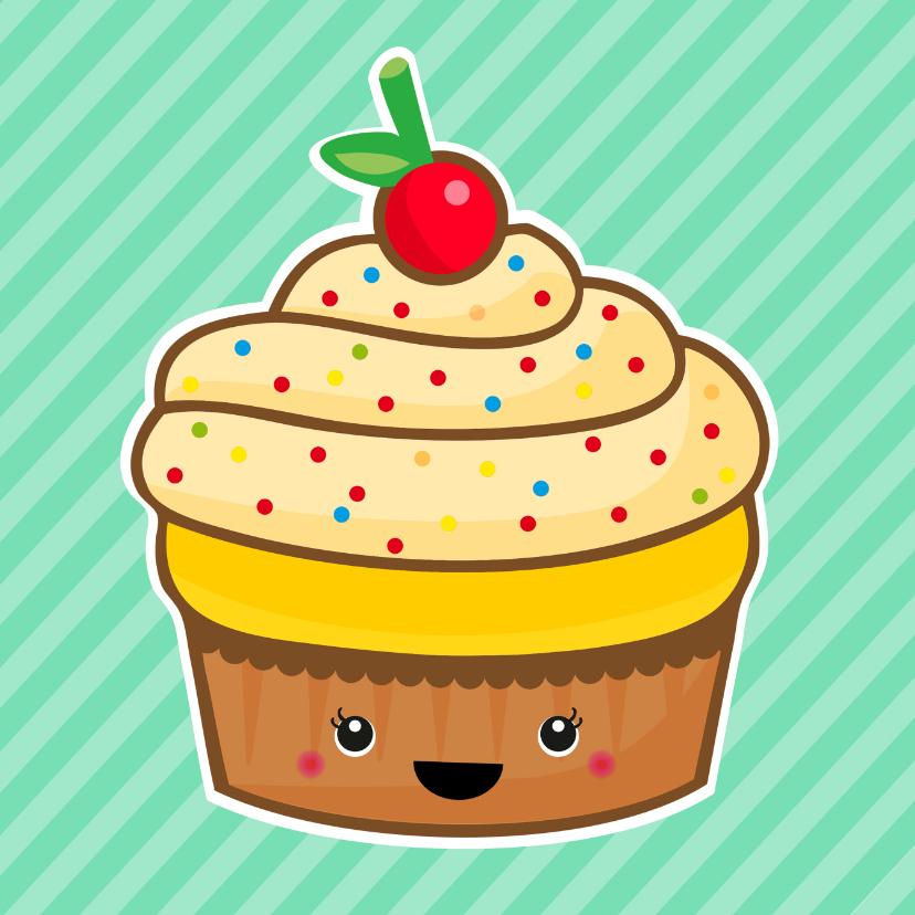 Verjaardagskaarten - Verjaardag retro cupcake mint